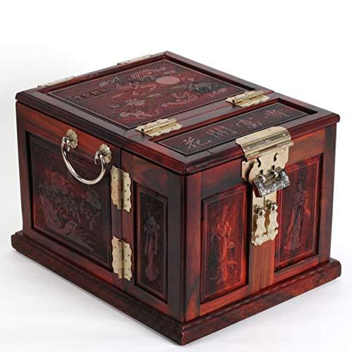 Grote rode zuur takken hout sieraden doos echt hout snijbloemen open rijke schatkist mahonie hand sieraden doos dressoir Decoratie