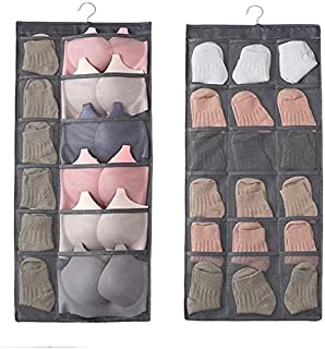 Zomoza Double Sided 30 Pockets Clear Hanging Bag Socks Bra Underwear Rack Hanger Storage Organizer Wall Hanging Closet Shelves Storage Pockets-Grey
