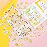PMSMT 50 unids/Set Bonitas Pegatinas de Gato de Pan japonés para álbum de Recortes,Pegatinas de papelería para Diario, Material Escolar y de Oficina