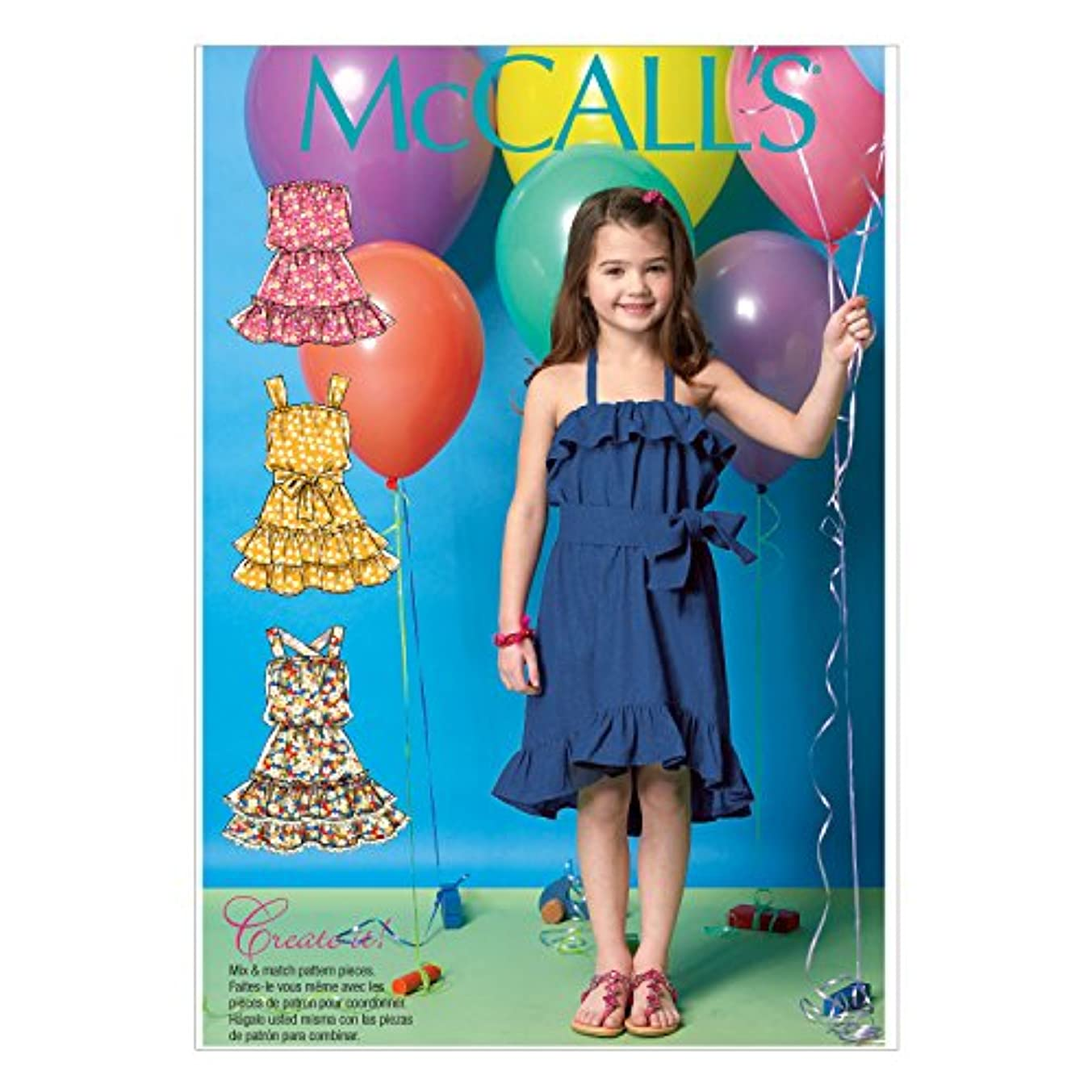 McCall's Patterns M7147 Children's/Girls' Dresses and Belt Sewing Template, CDD (2-3-4-5)