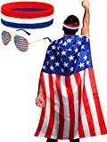 Package include: 1 piece USA flag costume cape, 1 piece USA sunglasses and 1 piece USA bandana, 3 pieces in one package, fashion and popular American flag set in bright patriotic colours Quality material: the USA flag cape is made of quality polyeste...