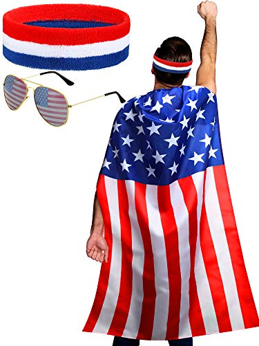 American Flag Costume Cape, Retro 80's American USA Sunglasses and USA Flag Headband for 4th of July Independence Day Celebration