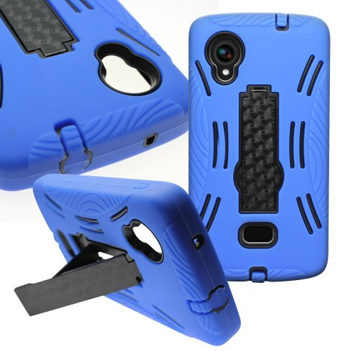 CoverON for LG Google Nexus 5 Case - [Titan Armor Series] Hybrid Hard and Soft Shockproof Dual Layer Protective Phone Cover with Kickstand - Blue & Black