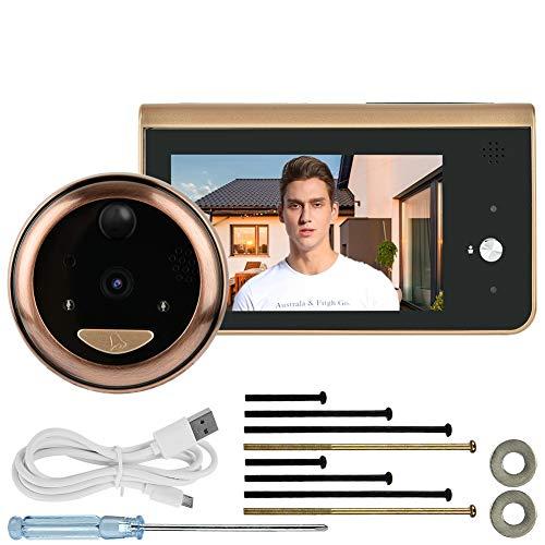 WiFi Digital Door Viewer, videoportero inalámbrico con Pantalla LCD de 4.3 Pulgadas + cámara HD de 1MP + ángel de 166 ° de Ancho + detección de Movimiento PIR + visión Nocturna IR + Control App