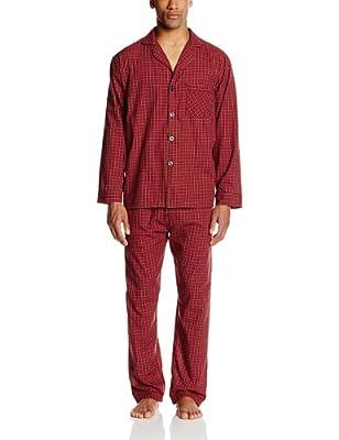 Hanes Men's Woven Plain-Weave Pajama Set, Red Plaid, Medium by Hanes Sleepwear