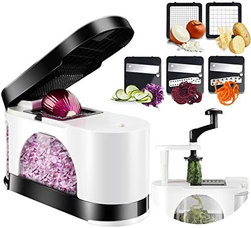 EASACE Mandoline Slicer Spiralizer Vegetable Chopper Dicer Onion Chopper with Container Pro product image