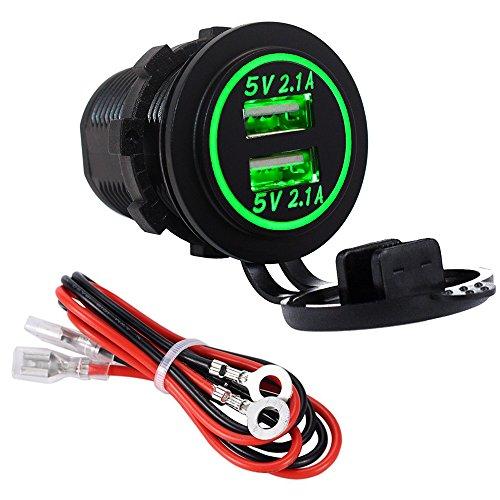 YGL Impermeable Cargador dual USB Toma de corriente 2.1A y 2.1A para 12V / 24V Coche Barco Marina Camión Vehículo Motocicleta(verde)