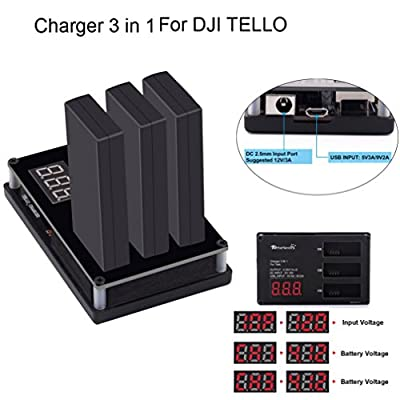 UPXIANG 3in1 Multi Battery Charger Hub RC Intelligent Quick Charging for DJI Tello Drone