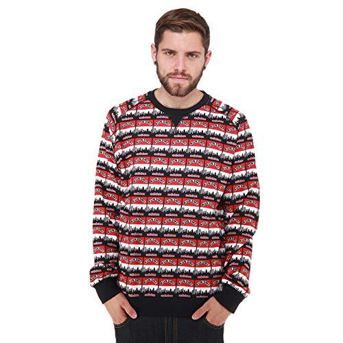 adidas Originals Run DMC Herren Sweatshirt Hip Hop New York Skyline 1982 Schwarz, Größe:S, Farbe:Mehrfarbig