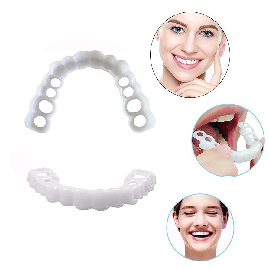 スリップ幽霊マザーランド4ピーススナップオンパーフェクトスマイル義歯コンフォートフィットフレックス化粧品の歯(2本入り下+ 2枚入り)