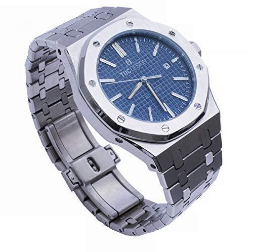 TOC Design Royal One by Didun Sportlich Elegante Herren Automatik Uhr, Saphirglas, massives Armband, Miyota Uhrwerk, Silber/Blau