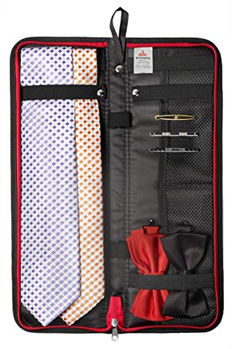 "Travel Essentials Travel Tie Case, Black (18"" X 6"") Cuff Link/Tie Clips Storage. Holds even the longest Ties"