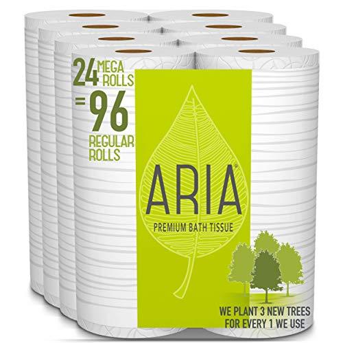 Aria Premium, Earth Friendly Toilet Paper, 24 Mega Rolls, 24 = 96 Regular Rolls, 6 Count (Pack of 4)