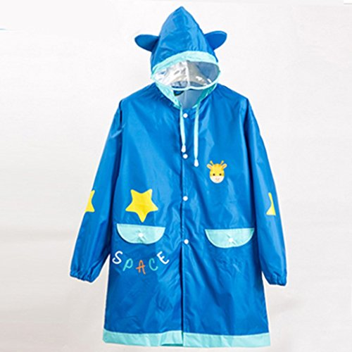 Vestes anti-pluie QFF Boys and Girls Child Raincoat Waterproof Student Big Hat Poncho (Couleur : Bleu, Taille : M)