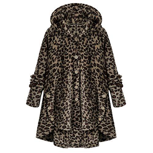 Sudadera con capucha para mujer, con botones, para el invierno, forro polar cálido, dobladillo irregular, con bolsillos, chaqueta de invierno para exterior, informal, para uso diario marrón S