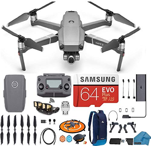 DJI Mavic 2 Zoom Drone Quadcopter with 24-48mm Optical Zoom Camera Bundle Kit with 64 gb Micro SD Card, Backpack...