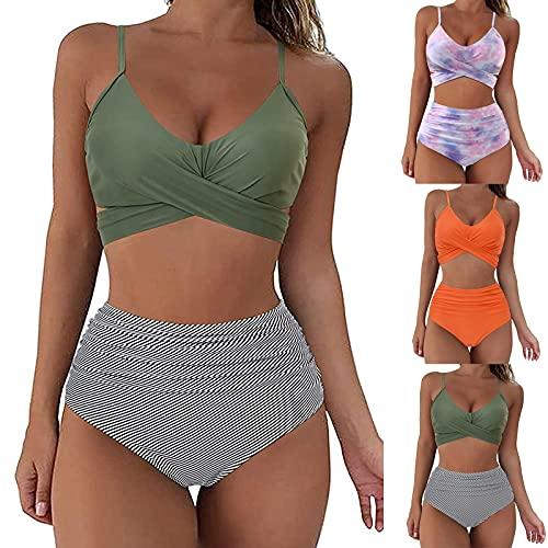 Bikinis Mujer 2019 Push up Sexy con Volantes Bañador brasileño Conjunto de Traje de BañO Estampado con Relleno Sujetador Tops y Braguitas Ropa de Playa vikinis riou