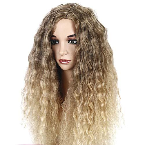 Véritable perruque humaine fibre chimique maïs chaud petit cheveux bouclés longues dames perruque ondulée