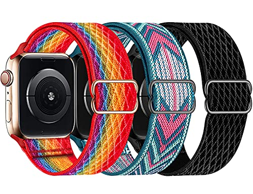 Swhatty Stretchy Nylon Bands Compatible with Apple Watch 44mm 42mm, Adjustable Braided Sport Elastics Women Men Strap for iWatch Series 6/5/4/3/2/1 SE (Black, Green Arrow, Rainbow Colorful Pride)