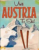 オーストリアを訪れてスキーティンサイン壁の装飾金属ポスターレトロプラーク警告サインクラフトオフィスカフェクラブバー