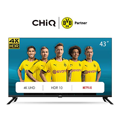 CHiQ  U43H7L Randloser UHD Fernseher 43 Zoll TV 4k Randlos Smart TV 108 cm Bilddiagonale [Made in EU] (Version 2020, Ultra HD, Amazon Prime Video)