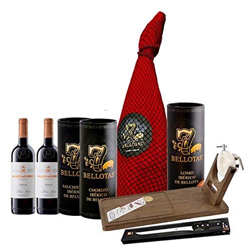 Lotes y Regalo Navidad Jamón 7 BELLOTAS® Gran Reserva Entero 7,0 Kg. + 3 X Embutido + Estuche Rioja + Jamonero Pro + Cuchillo