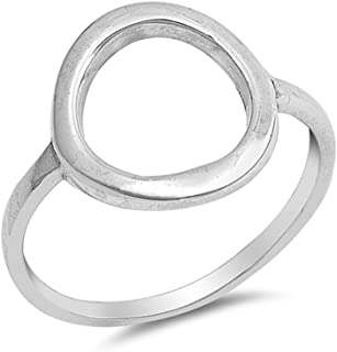 Open Ring Band 925 Sterling Silver Circle O Simple Plain
