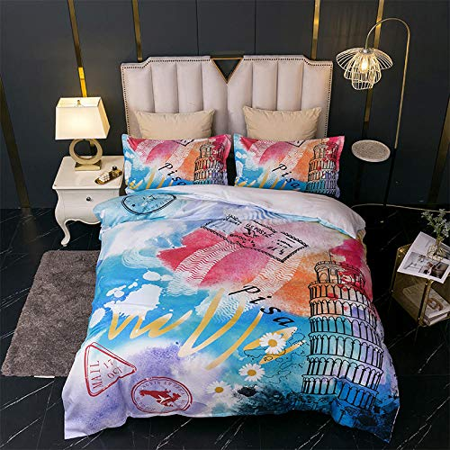 Color graffiti duvet cover set 3 pieces of fashionable architectural printing bedding 220x240cm + 50x75cm * 2