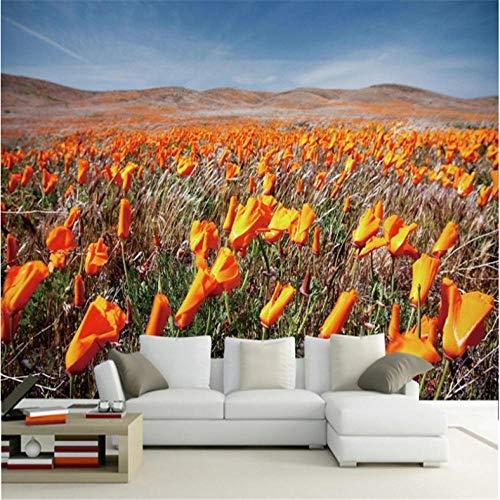 Wuyyii Grote Aangepaste Muur Oranje Bloem Zee Slaapkamer Slaapbank Woonkamer TV-achtergrond 250x175cm
