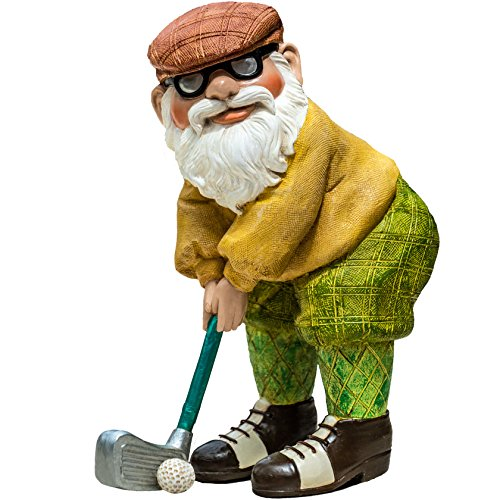 "Twig & Flower The Great Golfing Gnome 9"" (The Perfect Gift) - Hand Painted Garden Gnome - Designed"