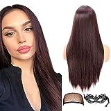 Pelucas largas rectas largas de 22 pulgadas de color marrón oscuro para mujeres y damas Peluca natural sintética Parte media peluca completa (4#)