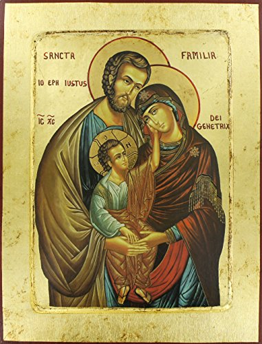 Ferrari & Arrighetti Ikone der Heiligen Familie, griechische Produktion auf Holz, mit Blattgold-Oberflächen - 31,5 x 24 cm
