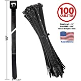 Bar-Lok Cable Ties by Avery Dennison – USA Made Nylon Zip Ties – Weather, UV & Impact Resistant Black Plastic Ties for Binding, Bundling & Organizing Cable & Wire – For Indoors & Outdoors (15' x 100)