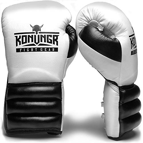 KONUNGR Boxing Gloves for Women, Men, Youth - Premium Gloves with Laces for Sparring, Speed Work Training with Punching Bag or Focus Mitts - Best for Boxing, Kickboxing, MMA (White-Black, 12oz)