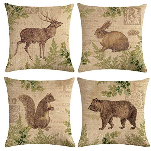 7COLORROOM Vintage Wildlife AnimalsThrow Pillow Covers Squirrel Bear Elk Rabbit with Green Plants Cushion Cover Home Decor Square Cotton Linen Pillowcase 18