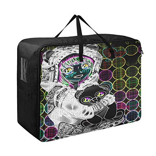 Large Storage Bins Best Anime Panda Girl With Ligths Of Neon Blankets Clothes Bedspread Storage Bag Fabric Closet Organization Sweater Duvet Storage Bags for Storing Bulky Bedding Accessories Wardrobe