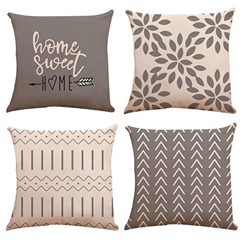 YCOLL Cushion Covers 18x18, Set of 4 Red Wine Pillow Covers Pillow Case Cushion Covers for Sofa Outdoor Garden Bed Couch Cushions 45x45cm