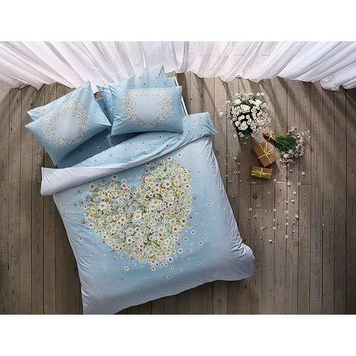 TAC Nachtleuchtendes Bettwäsche-Set mit Gänseblümchen-Motiv, 100 % Baumwolle