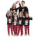 Abollria Set Pigiama Famiglia Natale,Pigiama Natalizio Famiglia Colore Rosso,Stampa di Orso Pigiami Famiglia Coordinati per Mamma papà Bambini