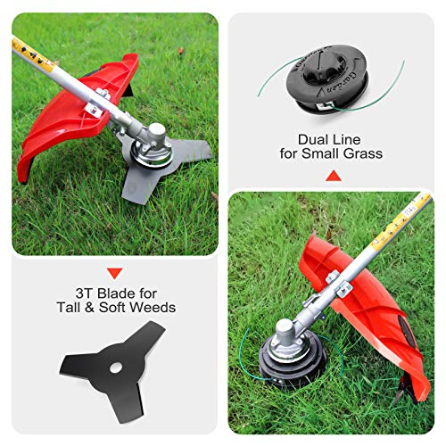 HUYOSEN 51.7CC Grass String Trimmers Gas Straight Shaft Brush Cutter Gasoline Powered Grass Weed Trimmer Straight Shaft Gas Weeder Eater Cutter(Red)