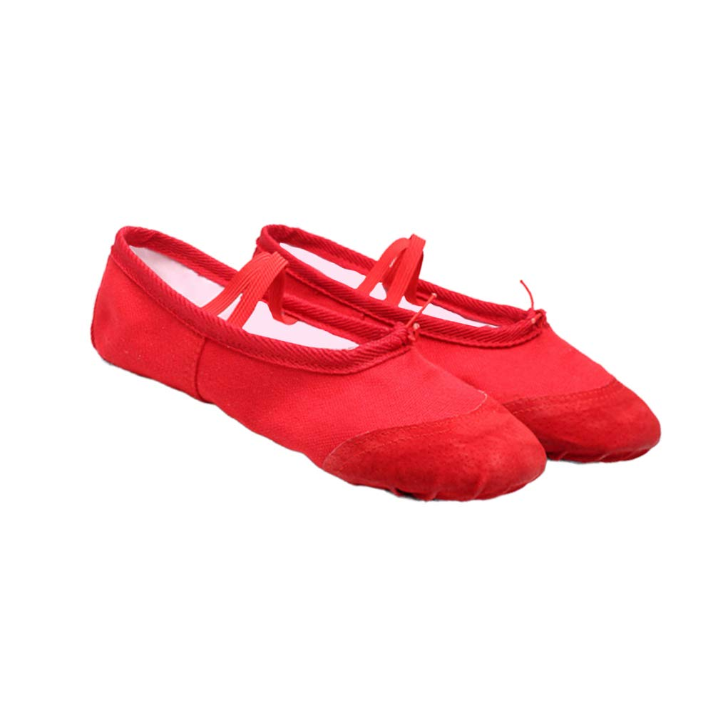 SUPVOX Canvas Ballet Shoes Full Sole Ballet Slipper Yoga Split Sole Flats Anti Slip Dance Shoe for Kids Adults Women Girl 1 Pair (Red Size 36)