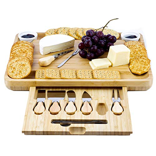 Beams Shops Extra Large Bamboo Cheese Board and Knife Set - Charcuterie Platter Tray Holds 6 Knives, 4 Forks and 2 Ceramic Cups with New Magnetic tray