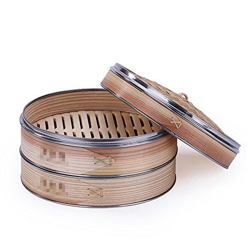 hochwertigen Verarbeitung gedämpft Bambus Korb Steamer Chinesische Dessert Herd Set gedämpft Klöße Zwei Käfige + ein Deckel, 25 cm