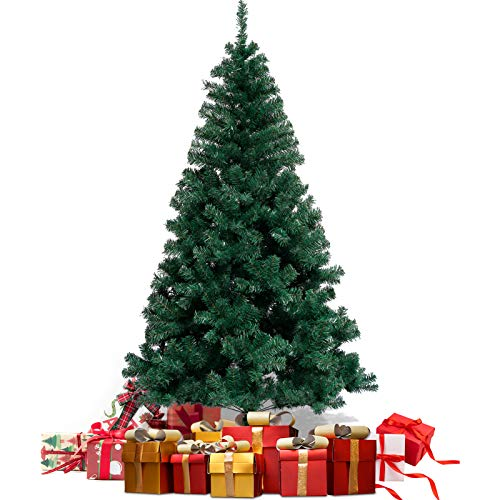 6ft Artificial Christmas Tree, Unlit Hinged Green Pine Xmas Tree 800 Branch Tips with Sturdy Stand for Home Office Holiday Festival Party Decor