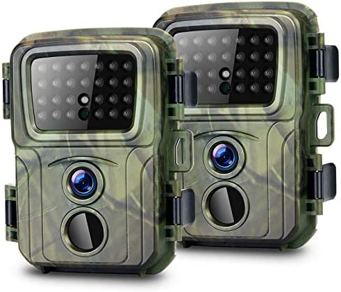 Mini Trail Camera 2 Pack 20MP 1080P with 32GB Card Game Cameras Waterproof Hunting Camera with product image