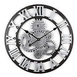 ZCCYMX Gear Silent Wall Clock Wood Vintage Wall ClockOutdoor Wall Clock, Large Metal Black Skeleton Roman Numeral Wall Clock (58CM) (Color : D)