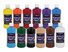 16oz bottles; Artist Quality acrylics Water resistant after drying Flip-top cap for easy dispensing Non-toxic and Made in the USA Ap certified