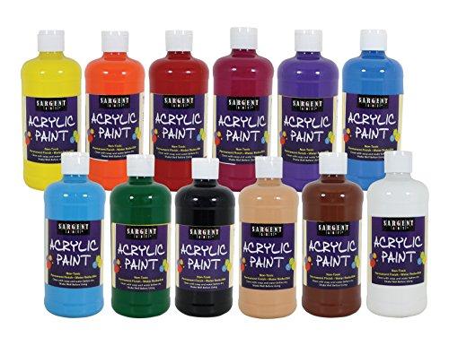 Sargent Art 24-2498 Count Artist Quality Acrylic Paint Set, 12, Assorted