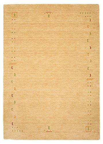 Morgenland Gabbeh Tapis FENTH 200 x 140 cm Beige Bordures design Tapis en laine douce fait main Loribaft Oriental Moderne