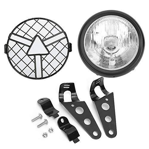 Motorfiets koplamp, universele motorfiets retro grill koplamp koplamp met lampenkap grillbeugel 5.75inch(Doorzichtig)